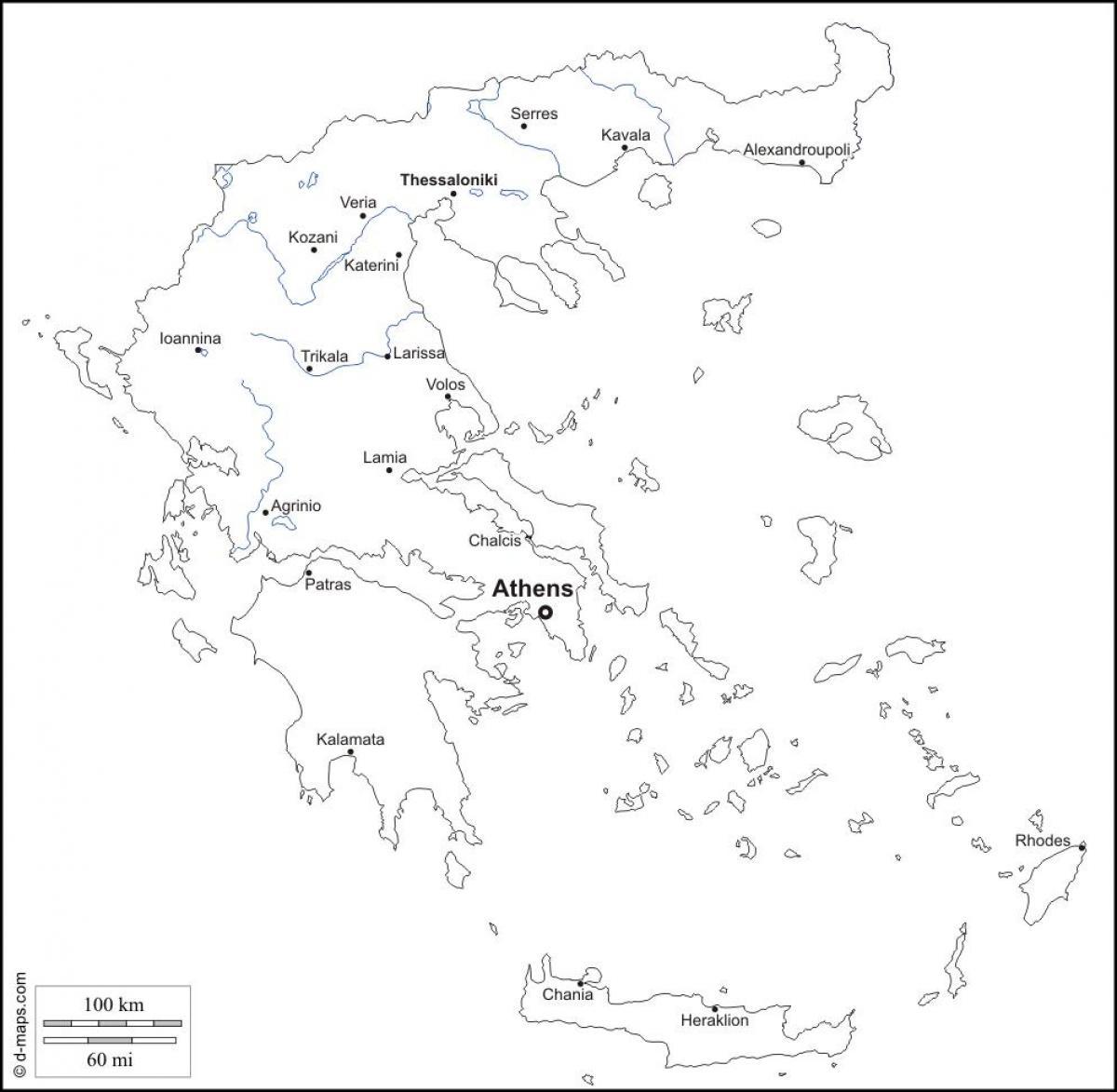 Griekenland Kaart Zwart Wit Kaart Van Griekenland Zwart En Wit